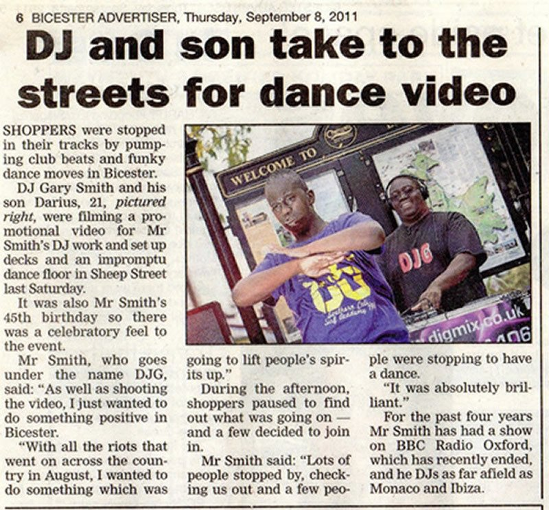 DJ G Local Newspaper Article
